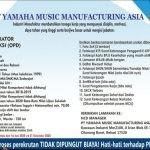 Lowongan Kerja Operator Produksi PT. Yamaha Music Manufacturing Asia